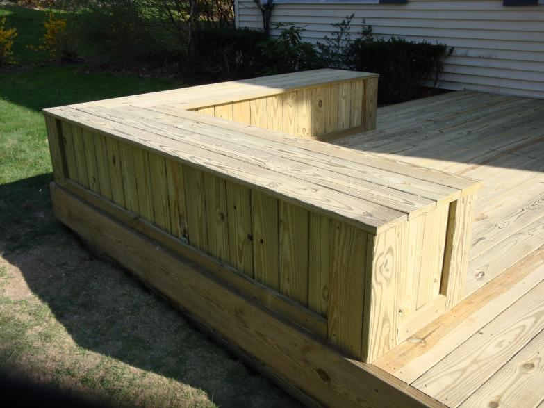 treated enclosed deck bench